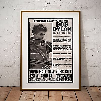 Bob Dylan 1963 NYC First Major Concert Poster Print Three Sizes NEW Exclusive