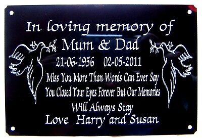 """Personalised Bench Memorial Plaque Grave Marker Sign Engraved Large 6"""" X 4"""""""