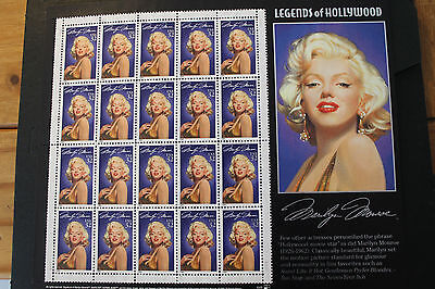 Sheet Of 20 Legends Of Hollywood Marilyn Monroe 32 Cent 1995 Usa Stamps