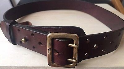 Christian Dior Women Girl Brown Leather waist embellishment Army belt XXS