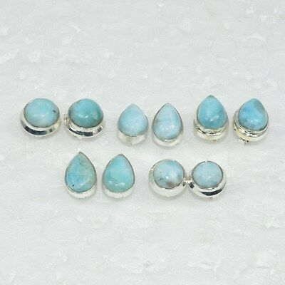 925 Solid Sterling Silver Wholesale 5 Pair Natural Blue Larimar Stud Earring Lot