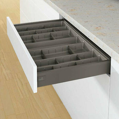 Plastic Cutlery Trays With Adjustable Dividers, Anthracite, Hettich ArciTech