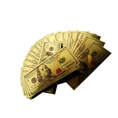 Lot of 50pcs banknotes 100usd Gold New Version 100 Dollar Banknote bill Crafts