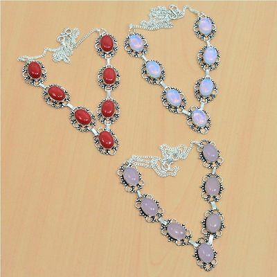 3Pc Wholesale 925 Silver Plated Coral,milky Opalite & Mix Stone Necklace Lot