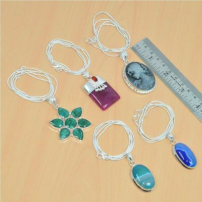 Wholesale 5Pc 925 Silver Plated Faceted Emerald & Mix Stone Pendant & Chain Lot