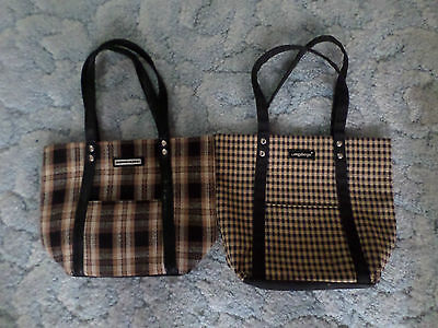 Lot Of 2 Longaberger Homestead Brown Checked Plaid Tote Bags/purses