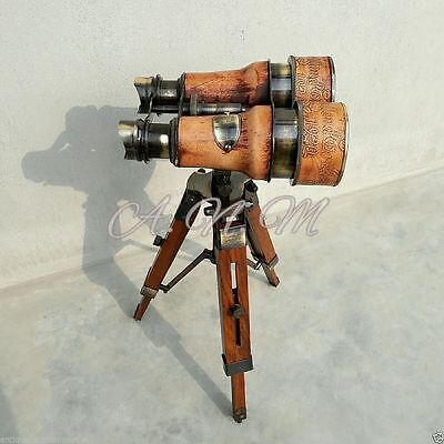 Antique Vintage Binoculars with wooden Tripod Leather Covered Maritime