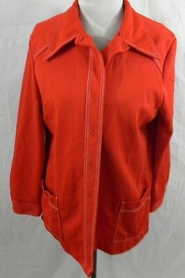 Vintage 1970s Red Polyester Womens 16 Jacket Pockets Button Front WhiteTopStitch