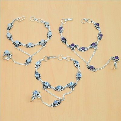 Wholesale 3Pc 925 Silver Plated Faceted Iolite Bracelet-Ring Bridal Hathphoollot
