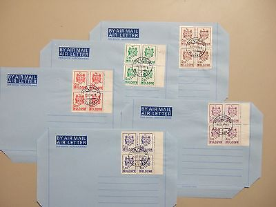 Five Moldova CTO aerogrammes with set-block of four ARMS stamps
