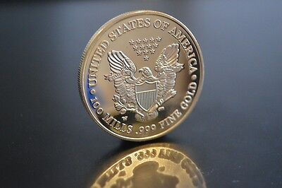 Usa  Liberty  2000  100 Mills .999 Fine Gold  Layered   Coin
