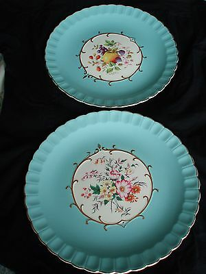A Pair Of H J Wood Burslem Aqua Blue Cake Plates Circ: 1940 Onwards