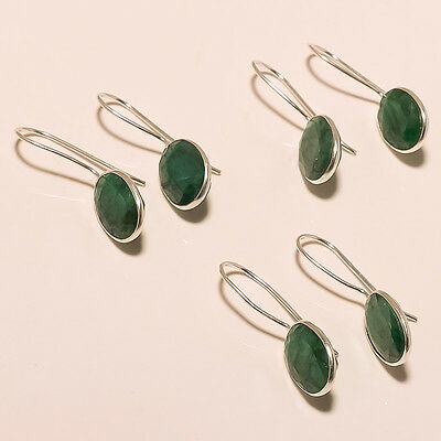 925 Silver Plated Wholesale 3Pair Lot Faceted Green Emerald Earring Jewelry