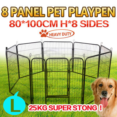 Heavy Duty 8 Panel Pet Playpen Portable Exercise Cage Fence Dog Puppy Rabbit Cra