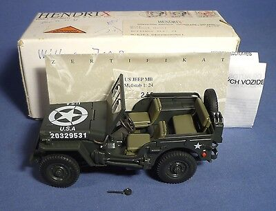 GONIO US Army Willys Jeep Hendrix OVP 1:24 vintage tin toy boxed D161