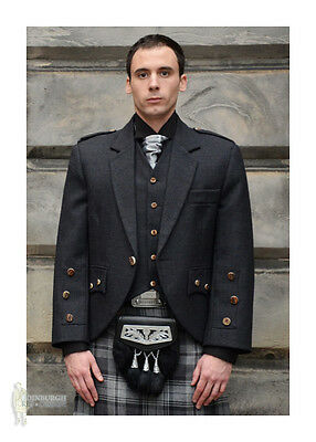 Araca Tweed Scottish Kilt Jacket & Vest - Charcoal  - 100% Wool - Size Options!