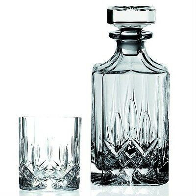 Decanter Set 7-piece Lead Free Crystal  Quality Italian Whiskey Glasses Service