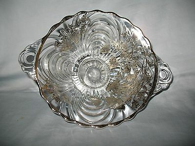 Crystal CAMBRIDGE Caprice 2-HANDLED Bowl w/ SILVER City STERLING Overlay