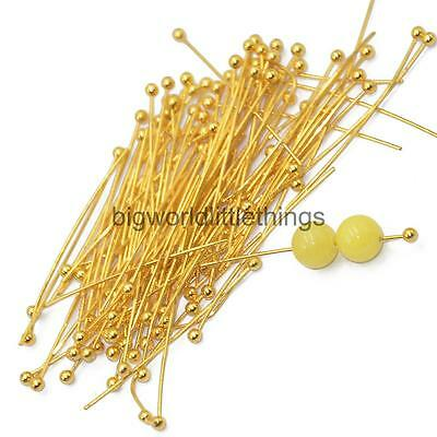 100x 30mm GOLD PLATED Brass BALL Flat PINS HEADPINS BEADING CRAFTING FINDING