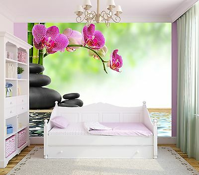 Bamboo Floral Zen basalt stones flower photo Wallpaper wall mural (10099158)