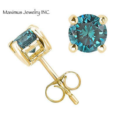14k yellow gold round cut blue diamond stud earrings natural 0.12ct