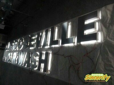 brushed stainless steel backlit advertising logotypes 3d led signages customized