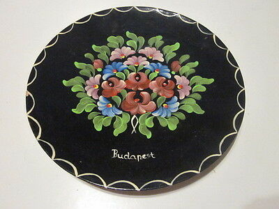 Vintage Souvenir Collector Plate Hand Painted Clay Plate Floral Design Budapest