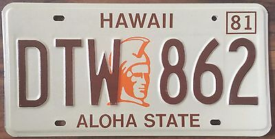 1981 King Kamehameha Hawaii Aloha State Authentic License Plate Mint #DTW 862