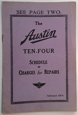 Scarce 1935 Brochure - The Austin Ten-Four: Schedule of Charges for Repairs
