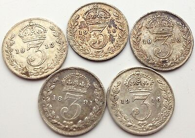 5 Silver  Three Pence Coins 1891-1918