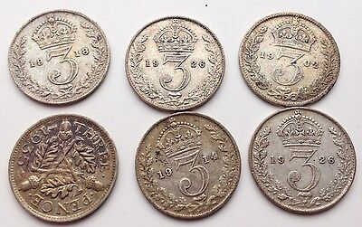 6 Silver Threepence Coins 1902-1935