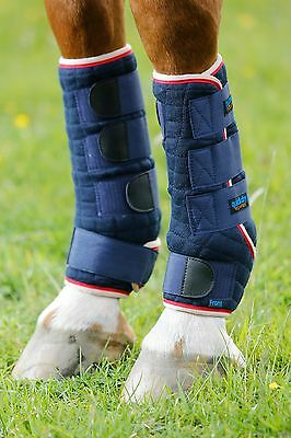 Premier Equine Quick Dry Leg Wraps Navy Front And Hind Small Medium Large