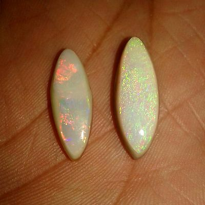 9Cts 2 Pcs Marquise Natural Australian Doublet Multi Fire Coober Pedy Opal