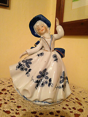 Porcelain Dancing Girl in Blue White and Gold Colours