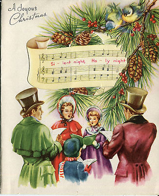 "Vintage Wallace/Brown Christmas Card: ""Silent Night"" Victorian Carolers - Pop Up"