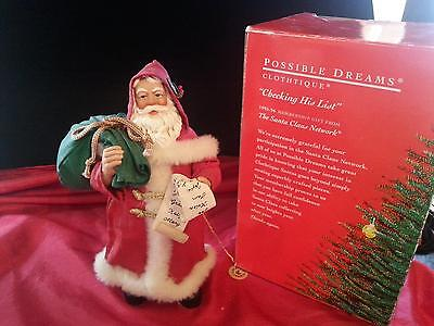 RETIRED Clothtiques Possible Dreams CHECKING HIS LIST in Orig.  Box 1995