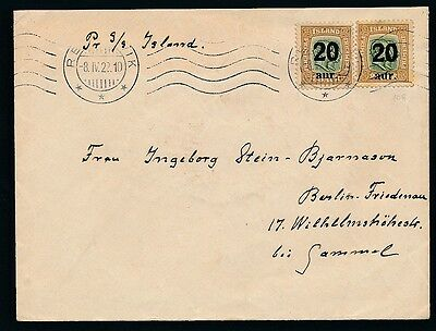 Iceland. 1922. Ship cover to Germany