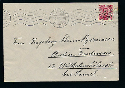 Iceland. 1921. 40 aur Chr. X on cover to Germany