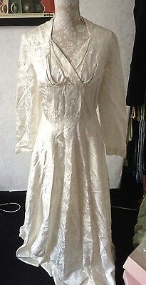 Vintage 50s Wedding Dress Heavy Satin And Lined