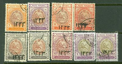 Middle East PERSIA Coat of Arms Overprint 1333 Group of 9 used  CV$70 Lot#5184