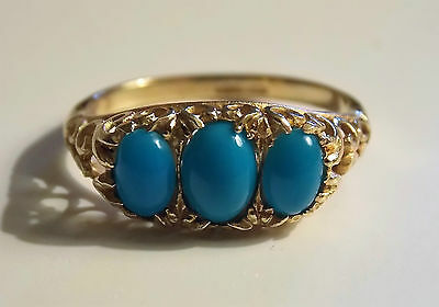 Vintage 9Ct Gold with Turquoise Stone Ring - Hallmarked - Size Q