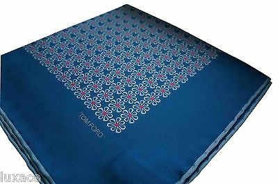 TOM FORD Pocket Square/Hanky - Blue/White/Pink Flower Print - 100% Silk