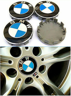 Lot de 4 Centre de roue BMW Cache Moyeu Jante 68 mm Hub Caps Logo