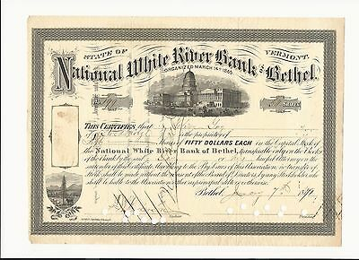 RARE National White River Bank of Bethel Vermont 1871