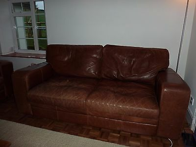 Sofa - Two brown leather sofas