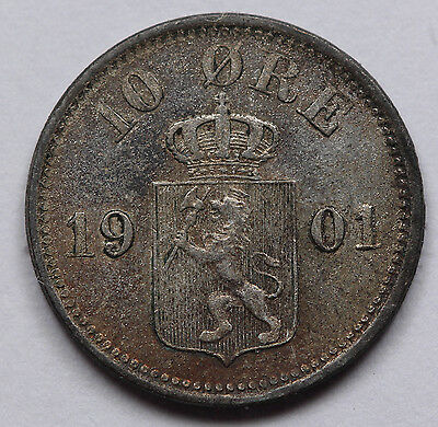 1901 Norway 10 Ore Silver Coin Uncirculated Nicely Toned KM #350 Rare Condition