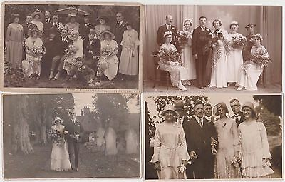 Rp 4 X Wedding Photos On Postcards Fashion, Dresses, Hats  Real Photo C 1920's