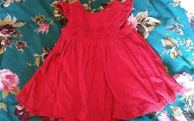 holly willoughby baby girl 0-3 , bright red corduroy dress ,smock, embriodery