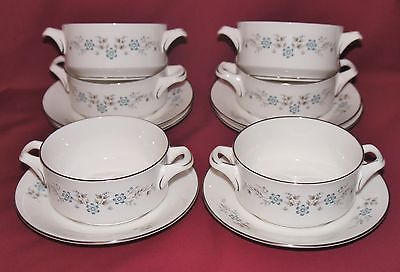 Set of SIX Royal Worcester 'DORSET' Soup Cups and Stands
