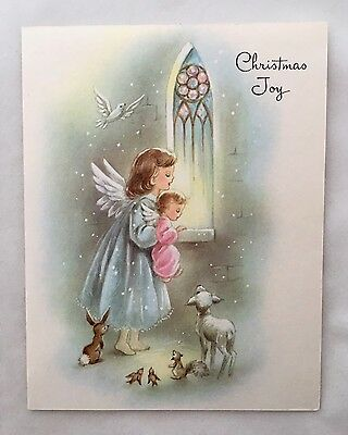 Vintage Christmas Card Pretty Angel Girl Child Lamb Bunny Squirrel Stained Glass
